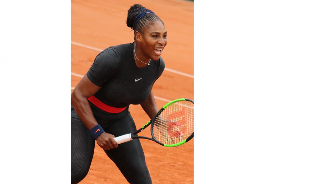 Serena in catsuit at French Open, May 2018