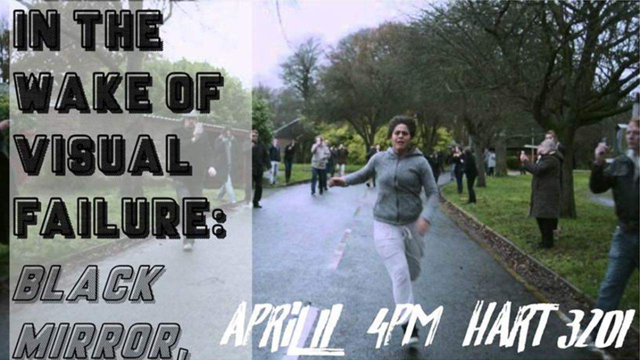 Event title superimposed over photo of woman in sweats running past people filming her on their cell phones