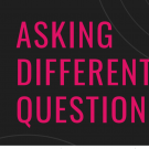 """Asking Different Questions"" logo in pink and black"