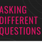 Asking Different Questions logo in pink and black