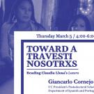 Toward a Travesti Nosotrix: Reading Claudia Llosa's Loxoro, by Giancarlo Cornejo, UC President's Postdoc in Dept of Spanish and Portuguese at UC Davis